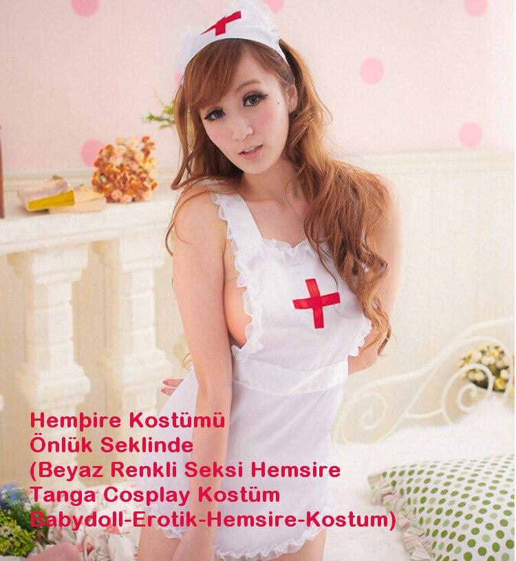 Hemşire Kostümü Önlük Şeklinde (Beyaz Renkli Seksi Hemşire Tanga Cosplay Kostüm Babydoll-Erotik-Hemsire-Kostum)